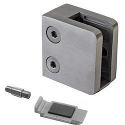 45x45 Balustrade Flat Back Clamp with Safety Pin /Satin