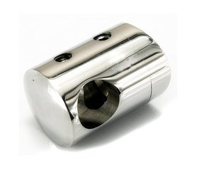 Curved Back Crossbar Holder for  Ø12 mm pipe/ Ø42,4mm/ Left  AISI 304/ POLISH