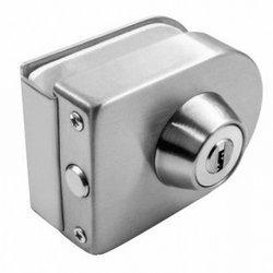 Overlay Glass Door Lock with Cylinder / Polish, Satin