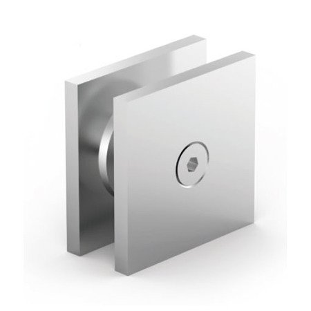 180° Glass Square Clamp , 40x40 mm, anodized aluminium