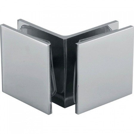45 mm Square  90° Connector (Glass-to-Glass) / Chrome Polish