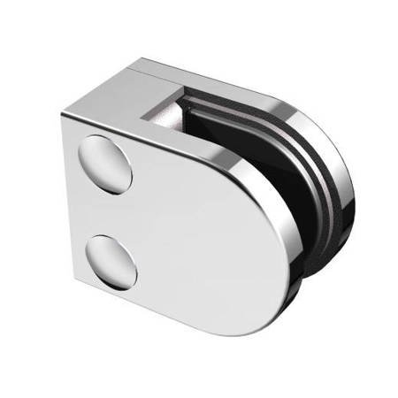 50x40 Balustrade Flat Back Clamp with Safety Pin, 6-10,76 mm glass / Polish